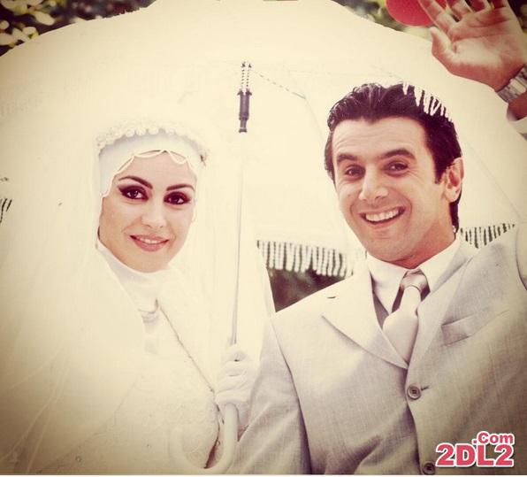 ماهچهره خلیلی با لباس عروس در کنار امین حیایی + عکس
