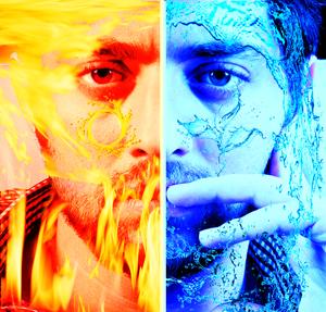 دانلود فیلم آموزش افکت دادن به عکس قسمتی از آب و قسمتی از آتش در برنامه فتوشاپ