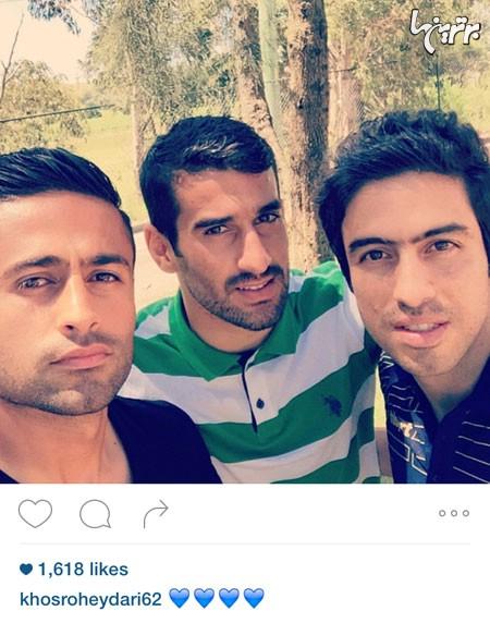 عکس سلفی جدید خسرو حیدری،احسان حاج صفی و امید ابراهیمی در اینستاگرام