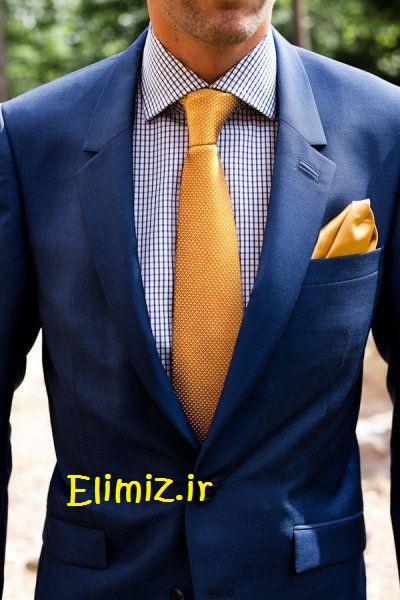 مدل کت با کراوات زرد