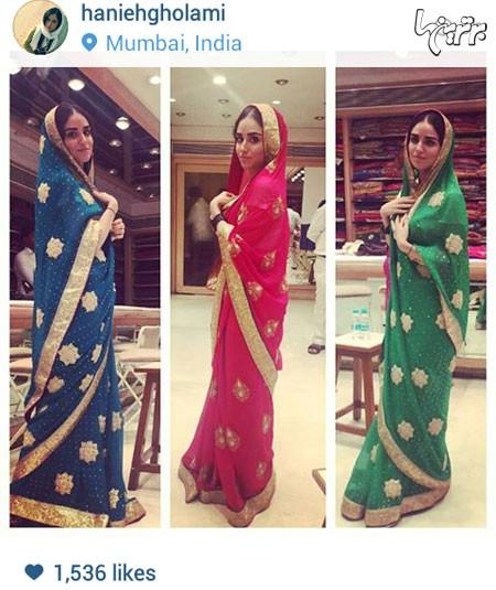 عکس هانیه غلامی با لباس هندی در بمبئی