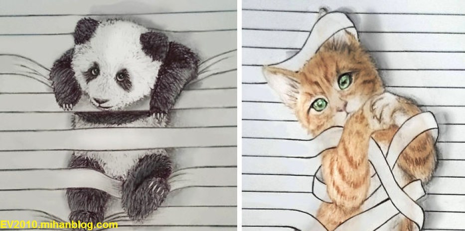 نقاشی های جالب و متفاوت بین خطوط