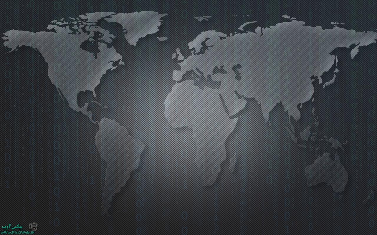 عکس نقشه زمین-سیاه به سبک اعداد ماتریکس