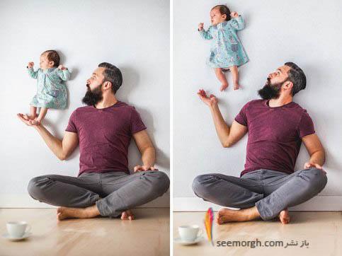 عکس های بامزه پدر عکاس و دختر 1 ماهه اش