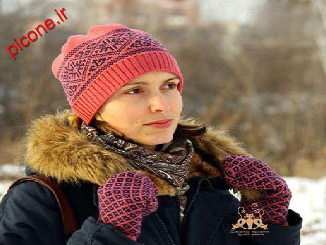 شال و کلاه بافت دخترانه ۲۰۱۶