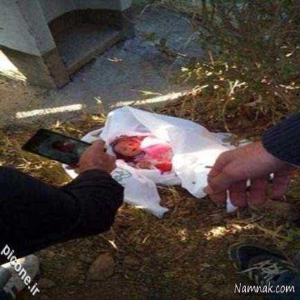 پیدا شدن نوزاد 2 روزه داخل بلوار در میبد + عکس