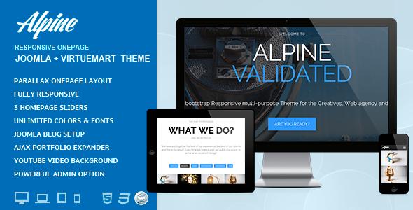 دانلود قالب تک صفحه جوملا Alpine v7.0