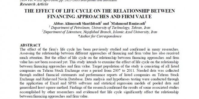 مقاله ISI تأثیر چرخه عمر بر رابطه بین تأمین مالی و ارزش شرکت ، THE EFFECT OF LIFE CYCLE ON THE RELATIONSHIP BETWEEN FINANCING APPROACH