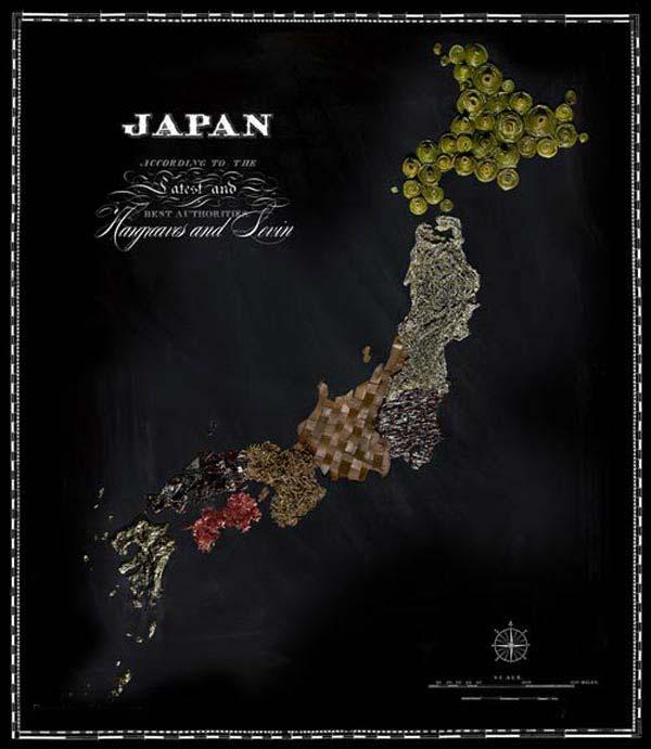 نقشه کشورهاي دنيا با طعم انواع خوراکي ها