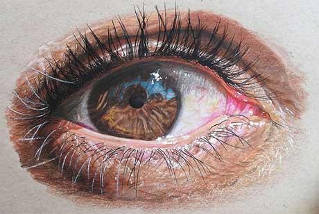 نقاشی های زیبا از چشم با مداد رنگی