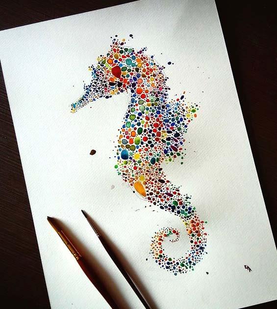 نقاشي هاي از حيوانات با هزاران نقطه ي رنگي آبرنگ