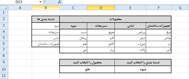 ارتباط لیست ها در اکسل از طریق data validation