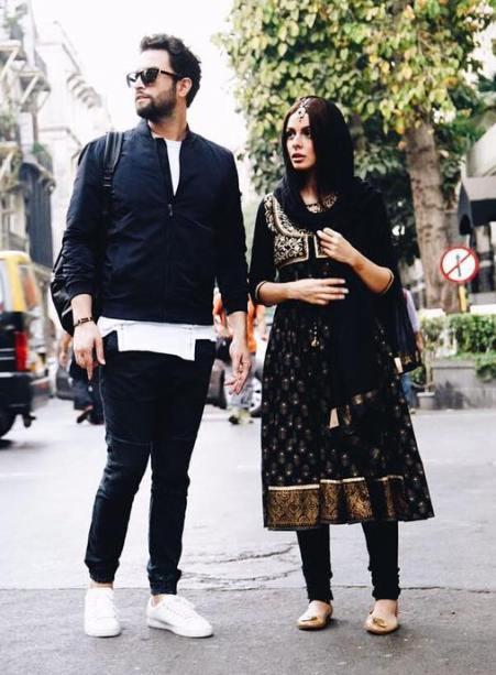 بنیامین بهادری و همسرش شایلی در سلام بمبئی