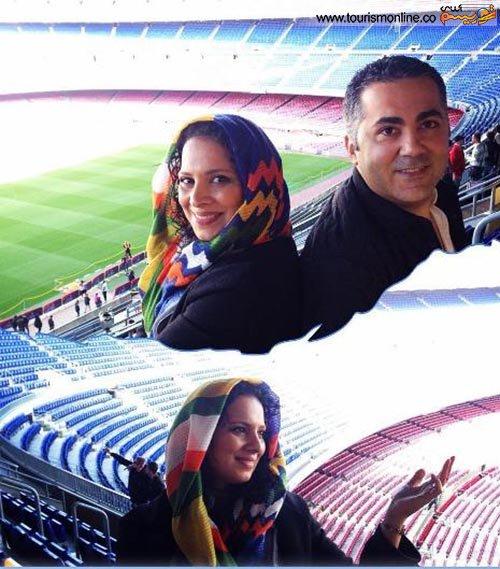 بازیگر زن ایرانی در ورزشگاه بارسلونا + تصاویر