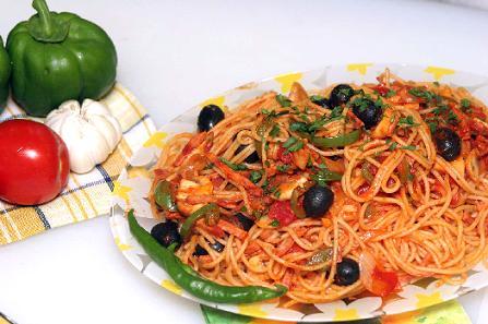 اسپاگتی غنی شده با تن ماهی