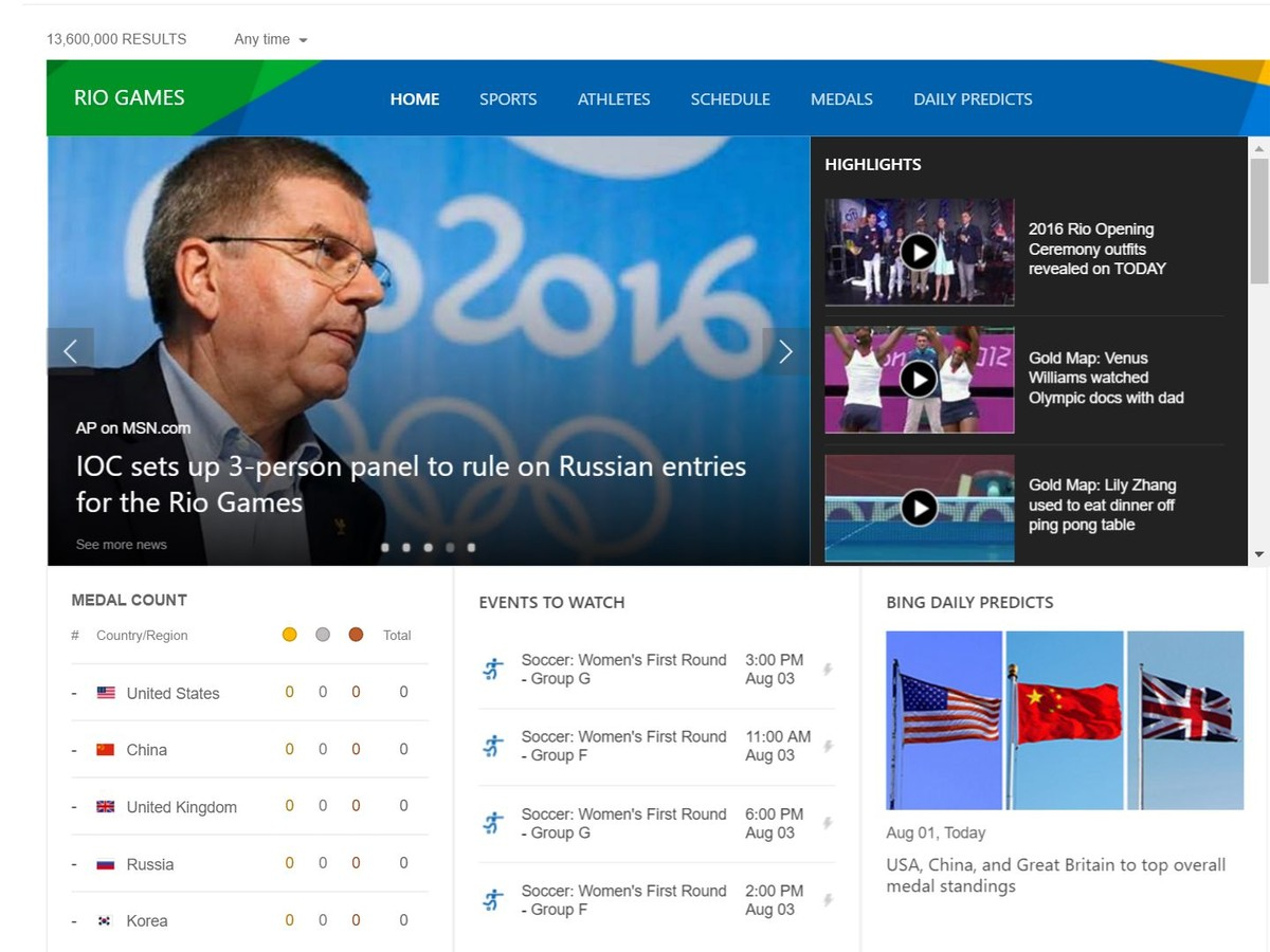 پیش بینی بازیهای ریو 2016