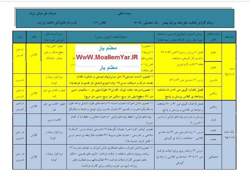 طرح درس هفته اول بهمن 95 پایه ششم ابتدایی | WwW.MoallemYar.IR