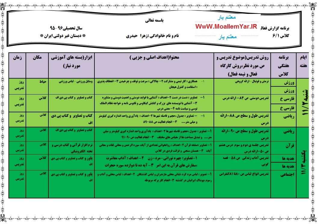 طرح درس هفته اول بهمن 95 پایه ششم ابتدایی (سرکار خانم زهرا حیدری) | WwW.MoallemYar.IR