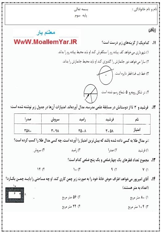 آزمون فصل محیط و مساحت ریاضی سوم ابتدایی (اسفند 95) | WwW.MoallemYar.IR