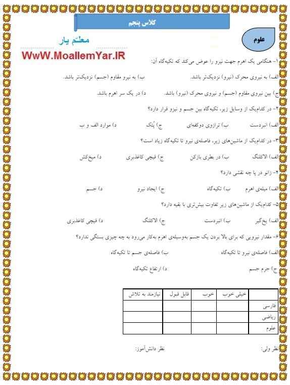 آزمون اسفند 95 علوم پنجم ابتدایی | WwW.MoallemYar.IR
