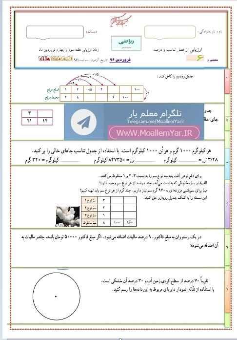 آزمون فصل 6 ریاضی ششم ابتدایی (فروردین 96) | WwW.MoallemYar.IR