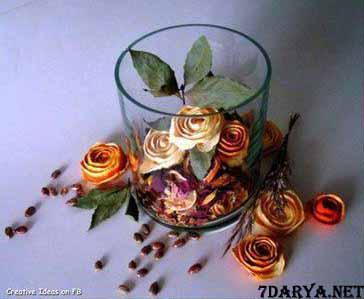 آموزش درست کردن گل رز با پوست پرتقال
