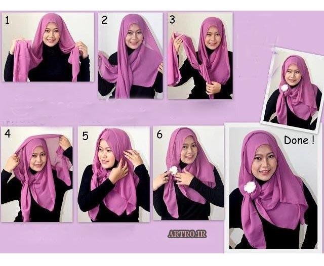 آموزش بستن شال و روسری دخترانه7