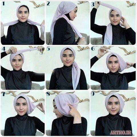 آموزش بستن شال و روسری دخترانه3