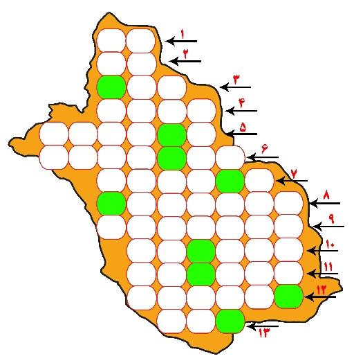 جدول نقشه استان فارس