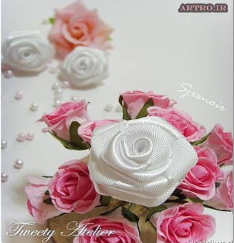 آموزش ساخت گل روبانی زیبا