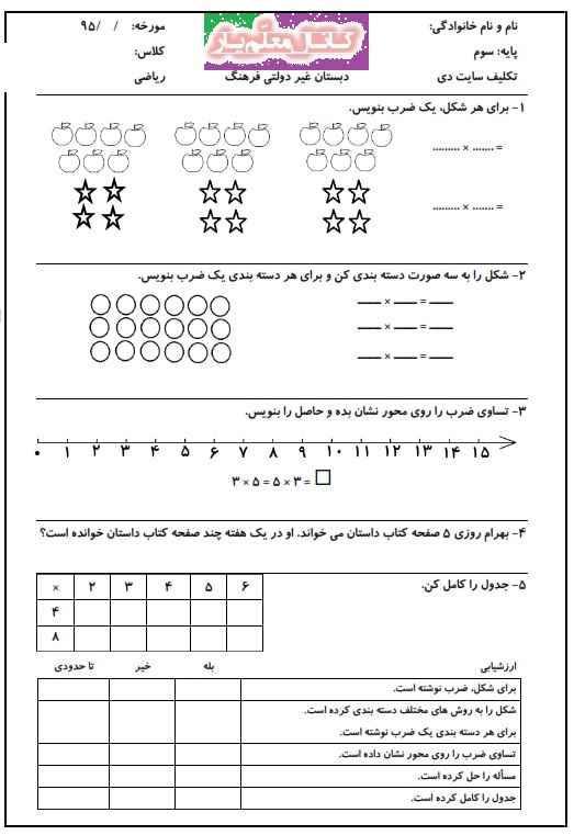 تمرین ریاضی سوم ابتدایی (دی 96) | WwW.MoallemYar.IR