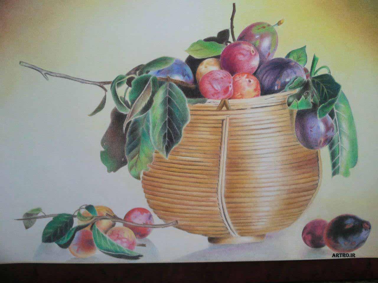 مدل نقاشی مداد رنگی سبد میوه3