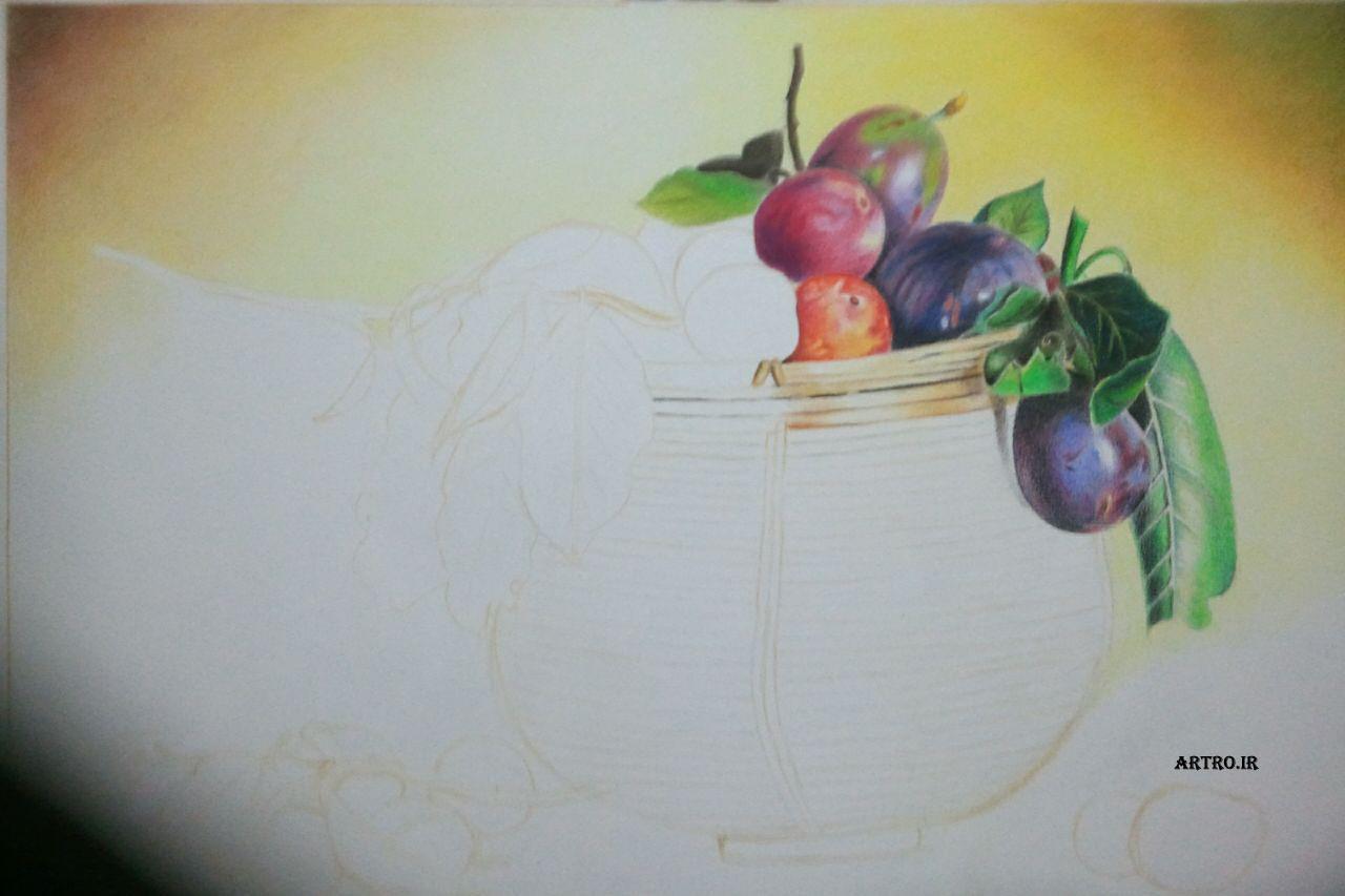 مدل نقاشی مداد رنگی سبد میوه
