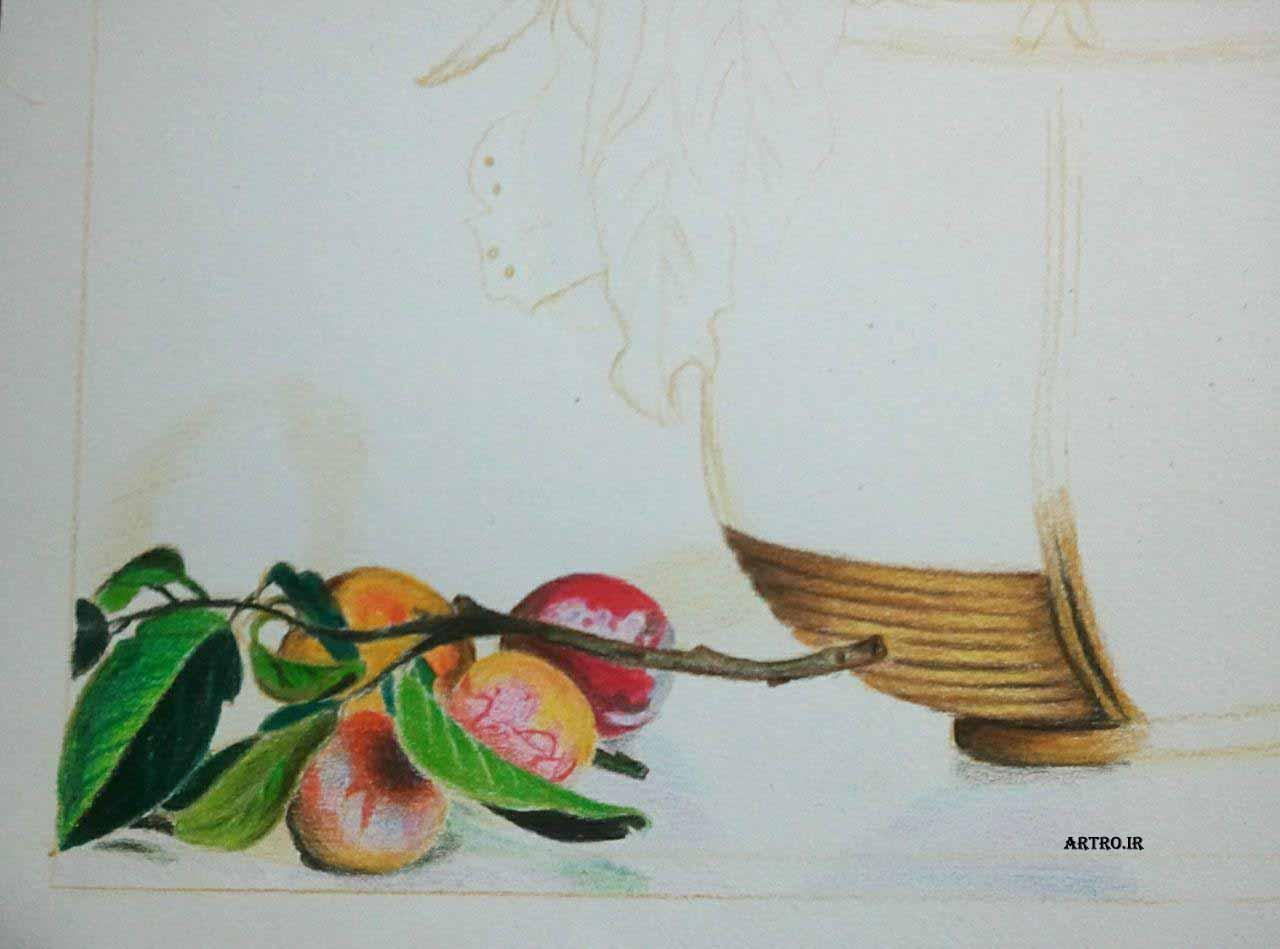 مدل نقاشی مداد رنگی سبد میوه2