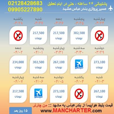 قیمت پرواز بندرعباس به مشهد