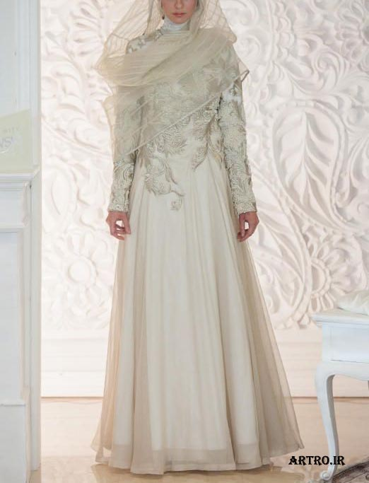 مدل لباس عروس محجبه,