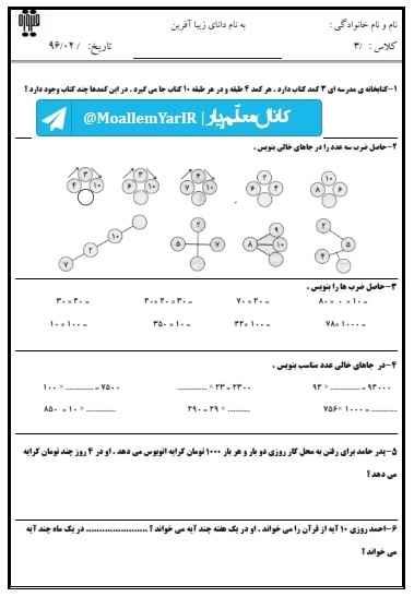 آزمون اردیبهشت ماه ریاضی سوم ابتدایی (18 اردیبهشت 95) | WwW.MoallemYar.IR