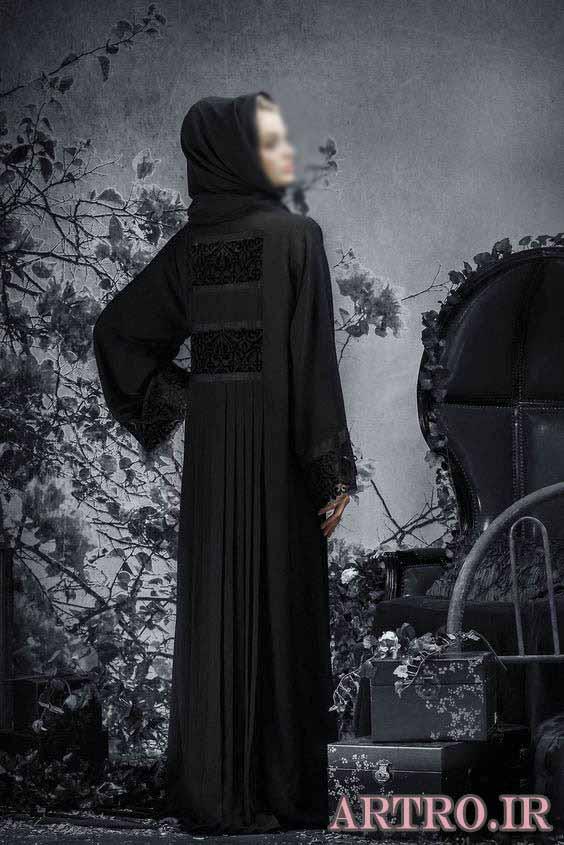 مدل مانتو بلند مشکی مجلسی 2018