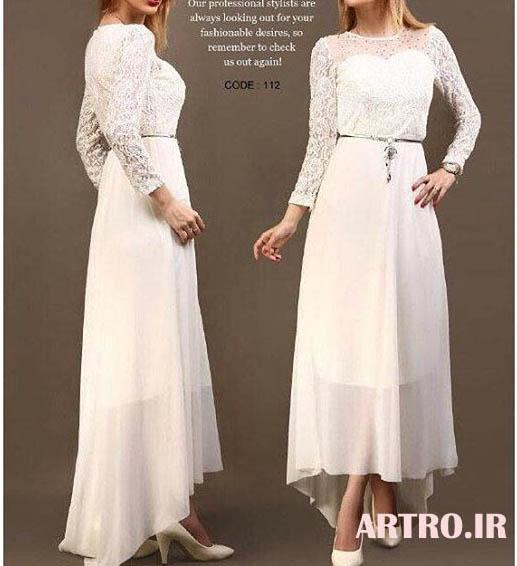 مدل لباس مجلسی سفید شیک 2018