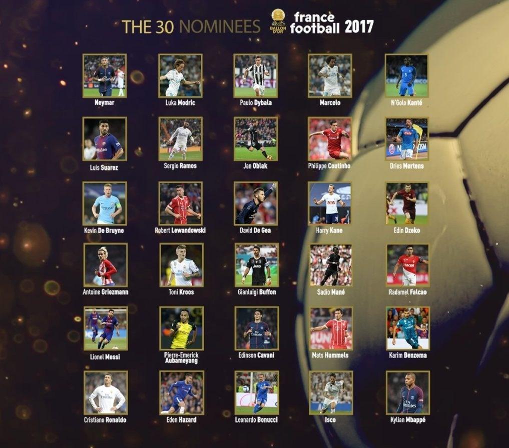 لیست 30 نامزد کسب توپ طلا نهایی شد:دی بروین از منچسترسیتی