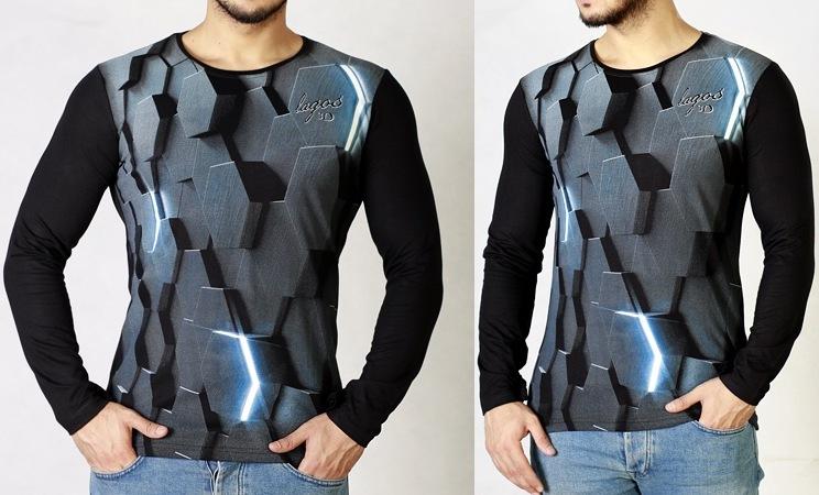 خرید ارزان قیمت تیشرت مردانه پسرانه آستین بلند سه بعدی Hex