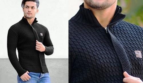خرید ژاکت سویشرت بافتنی رنگ مشکی مردانه 2018