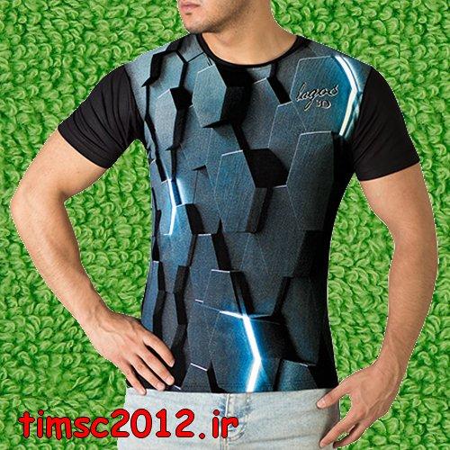 تی شرت مشکی سه بعدی مردانه 1397