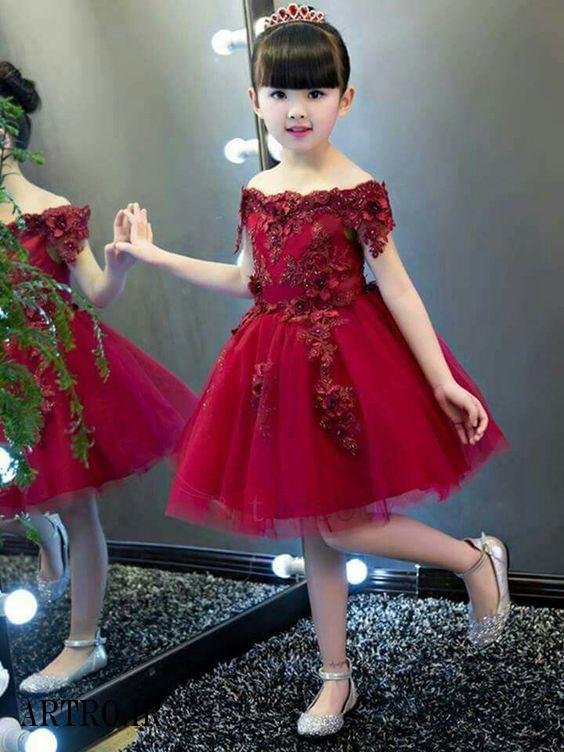 جدیدترین لباس مجلسی قرمز دختر بچه 2018