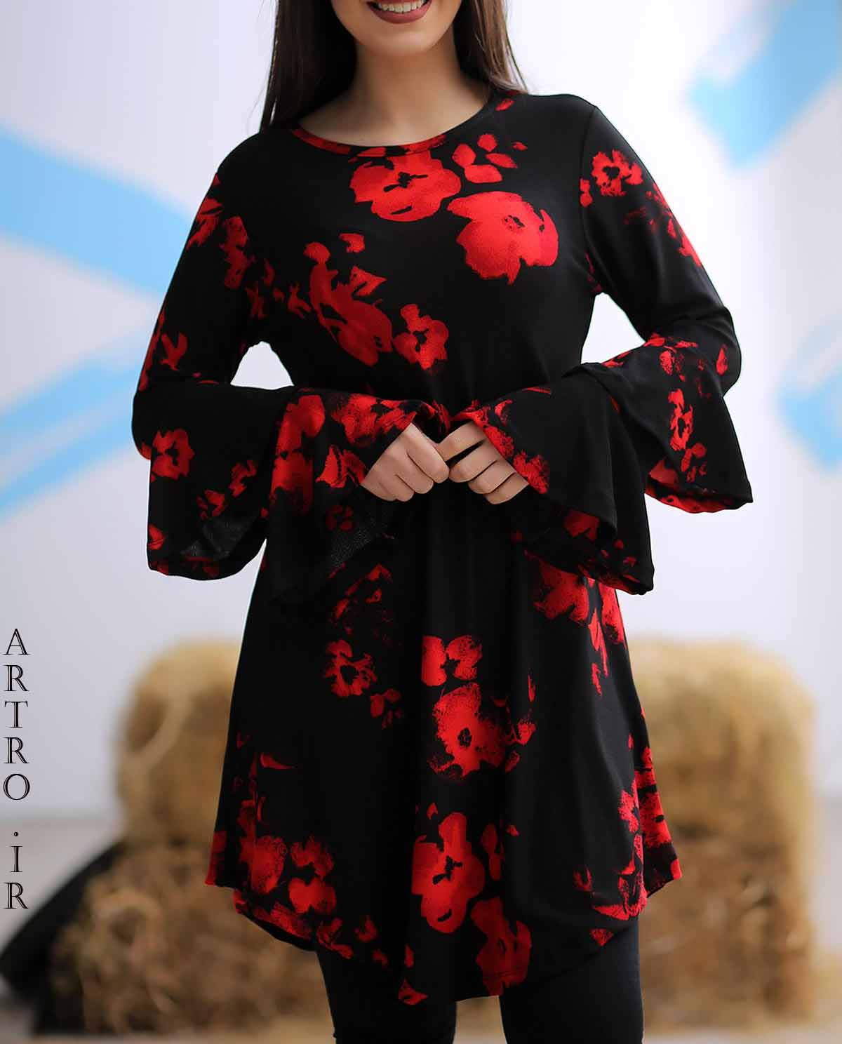 مدل تونیک مشکی گلدار