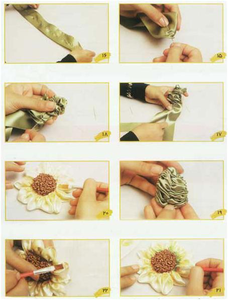 آموزش روبان دوزی گل آفتاب گردون3