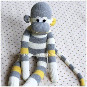 آموزش تصویری دوخت عروسک میمون با جوراب