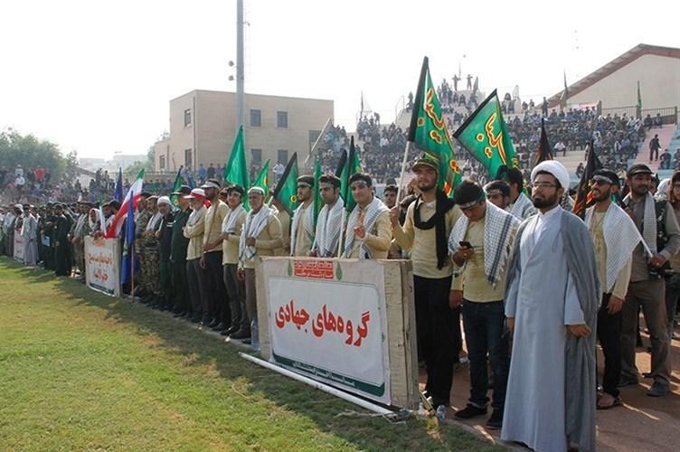 حضور جهادگران بسیجی در رزمایش اقتدار عاشورایی بسیج سپاهیان محمد رسول الله(ص) در بوشهر