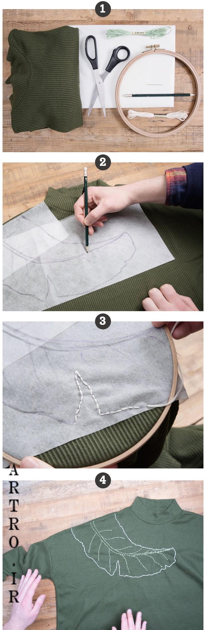 آموزش گلدوزی روی لباس بافتنی 2