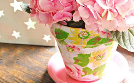 تزیین گلدان با پارچه
